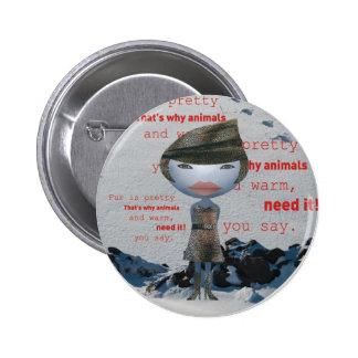 Stop using animal FUR! 2 Inch Round Button