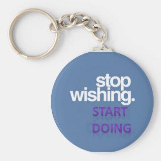 stop wishing start doing basic round button keychain