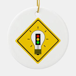 Stoplight Lightbulb Ahead Ceramic Ornament