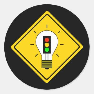 Stoplight Lightbulb Ahead Classic Round Sticker