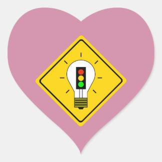 Stoplight Lightbulb Ahead Heart Sticker