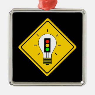 Stoplight Lightbulb Ahead Metal Ornament