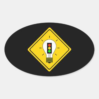 Stoplight Lightbulb Ahead Oval Sticker