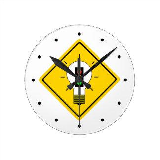 Stoplight Lightbulb Ahead Round Clock