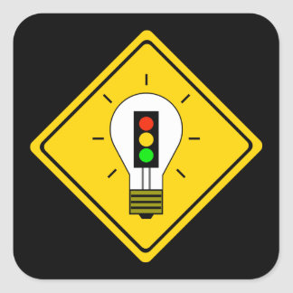 Stoplight Lightbulb Ahead Square Sticker