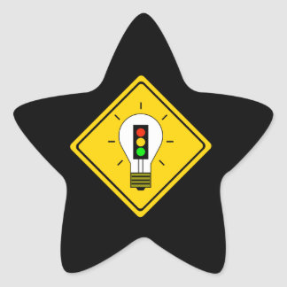 Stoplight Lightbulb Ahead Star Sticker