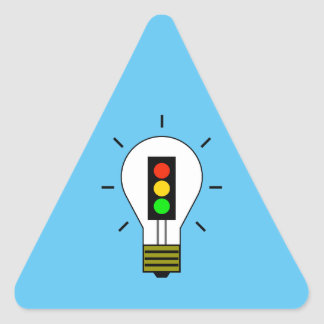 Stoplight Lightbulb Triangle Sticker