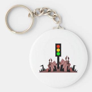 Stoplight with Bunnies Basic Round Button Keychain