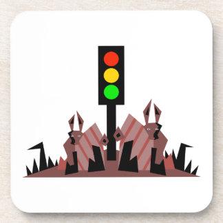 Stoplight with Bunnies Coaster