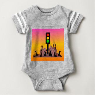 Stoplight with Bunnies, Dreamy Background Baby Bodysuit