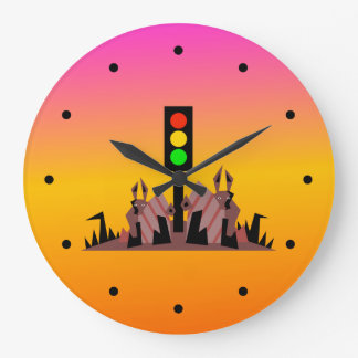Stoplight with Bunnies, Dreamy Background Large Clock