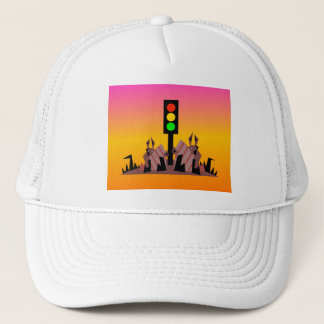 Stoplight with Bunnies, Dreamy Background Trucker Hat