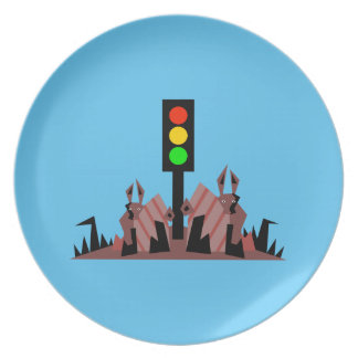 Stoplight with Bunnies Party Plate