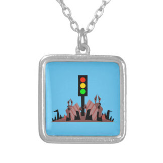 Stoplight with Bunnies Silver Plated Necklace