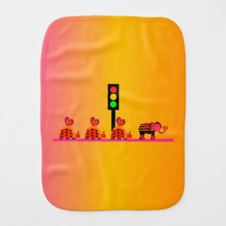 Stoplight with Heart Caravan, Dreamy Background Baby Burp Cloths