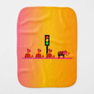 Stoplight with Heart Caravan, Dreamy Background Burp Cloth