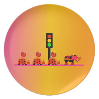 Stoplight with Heart Caravan, Dreamy Background Dinner Plate