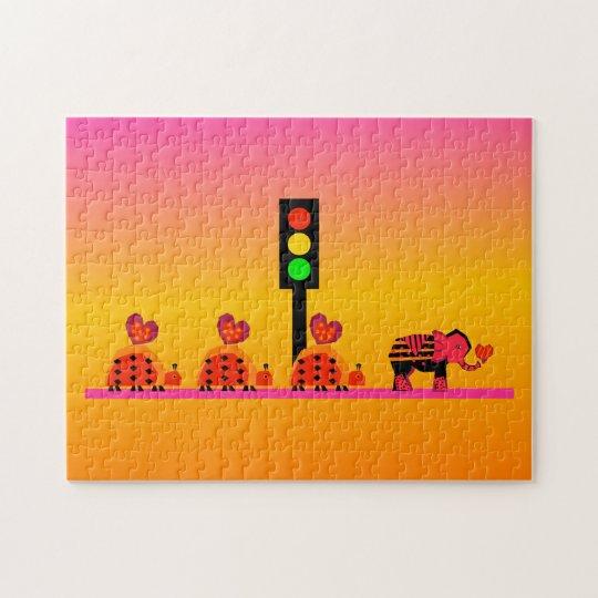 Stoplight with Heart Caravan, Dreamy Background Jigsaw Puzzle