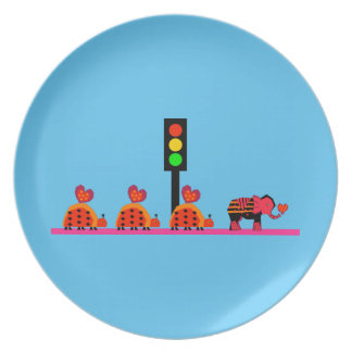 Stoplight with Heart Caravan Party Plate