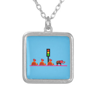Stoplight with Heart Caravan Silver Plated Necklace