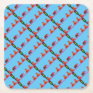 Stoplight with Heart Caravan Square Paper Coaster