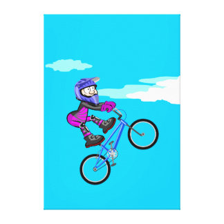 Stopped young BMX in the seat of its bicycle Canvas Print