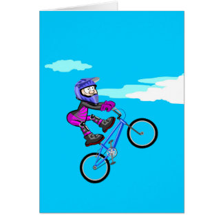 Stopped young BMX in the seat of its bicycle Card