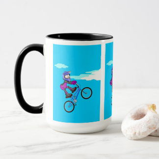 Stopped young BMX in the seat of its bicycle Mug