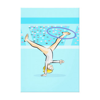 Stopped young gymnastics of head with the hoop canvas print