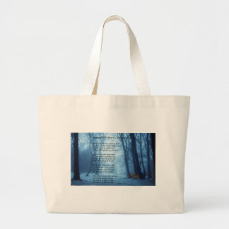 Stopping By The Woods by: Robert Frost Large Tote Bag