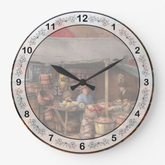 Store - Fruit - Grand dad's fruit stand 1939 Large Clock