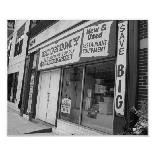 Storefront Philadelphia Black And White Photo Poster