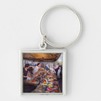 Storefront - The open air Tea & Spice market Silver-Colored Square Keychain