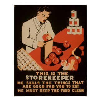 Storekeeper Must Keep Food Clean WPA Vintage Poster