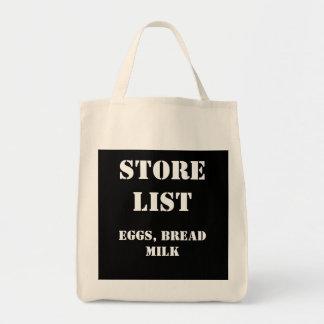 STORELIST, EGGS, BREADMILK GROCERY TOTE BAG