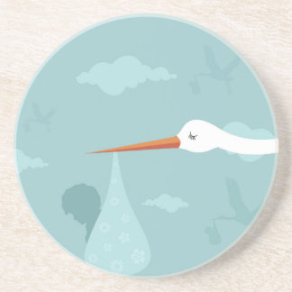 Stork and the kid drink coaster