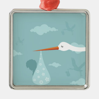 Stork and the kid Silver-Colored square ornament