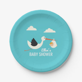 Stork Arrival 7 Inch Paper Plate