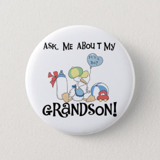 Stork Ask About Grandson 2 Inch Round Button