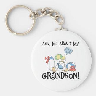 Stork Ask About Grandson Basic Round Button Keychain