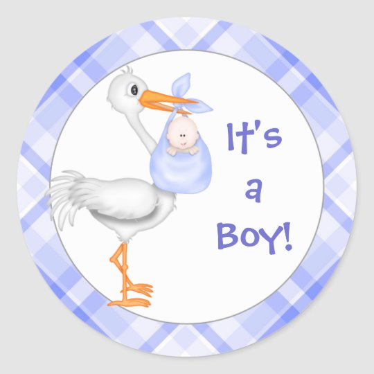 Stork & Baby Boy Baby Announcement Classic Round Sticker