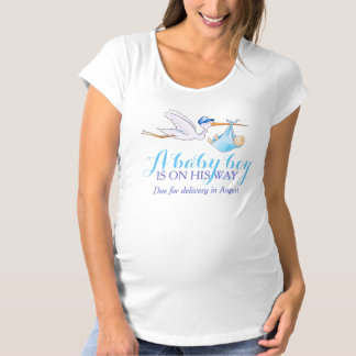 Stork baby boy on the way personalized apparel maternity T-Shirt
