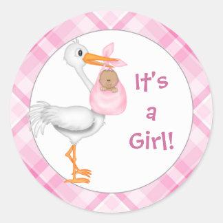 Stork & Baby Girl (darker skin) Baby Announcement Classic Round Sticker