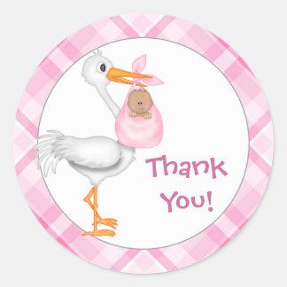 Stork & Baby Girl (darker skin) Thank You Classic Round Sticker