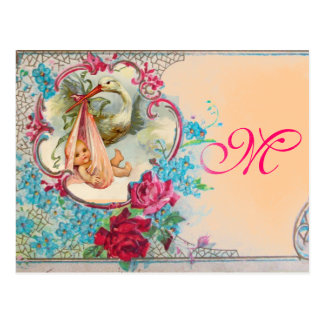 STORK BABY GIRL SHOWER PINK BLUE FLORAL MONOGRAM POSTCARD