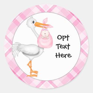Stork & Baby Girl Stickers