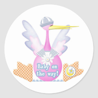 Stork Baby on the Way Classic Round Sticker