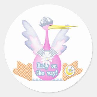 Stork Baby on the Way Round Sticker