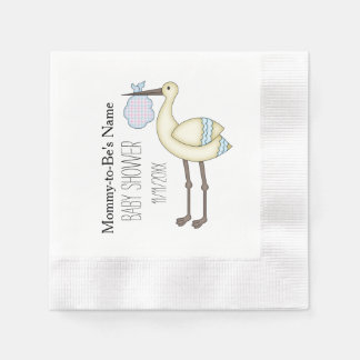 Stork Baby Shower Blue Personalized Paper Napkins