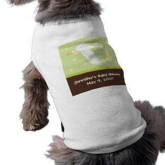 Stork Baby Shower Dog Tank - Green/Brown Shirt